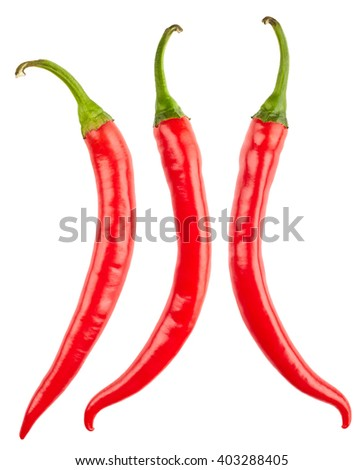 Chilli pepper isolated on white background - stock photo
