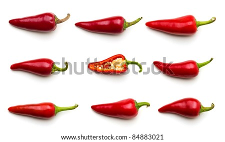 Chilli peppers, isolated on white - stock photo