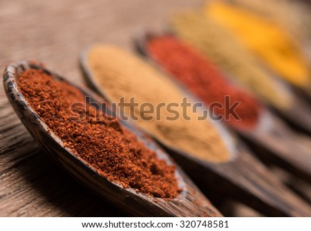 chilli powder on the wood spoon - stock photo