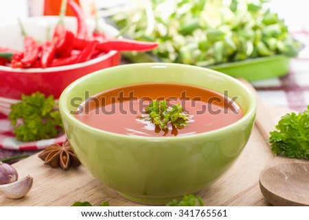 Chilli sauce with red hot chilli - stock photo