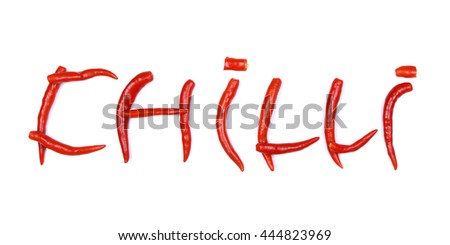 Chilli word made from ripe red chilli peppers on white background. - stock photo