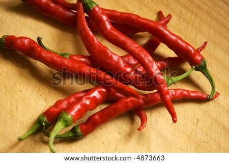 chillies on chopping board