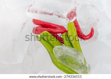 Chillies on Ice - stock photo