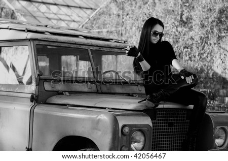chilling on the jeep - stock photo