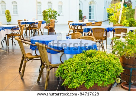 Chilling out cafe terrace at a hotel - stock photo