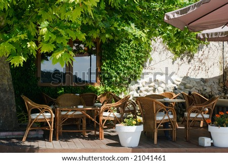 Chilling out cafe terrace at Greece - stock photo