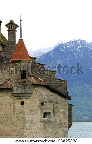 Chillon castle on the bank of lake of Geneva _2 - stock photo