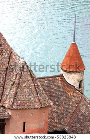 Chillon castle on the bank of lake of Geneva _3 - stock photo
