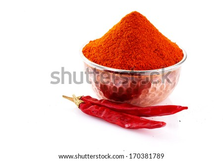 chilly powder with red chilly - stock photo