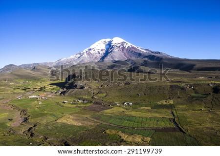 Chimborazo volcano and paramo, Andes, Ecuador - stock photo