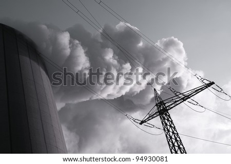 chimey smoke, steam and electric towers - stock photo