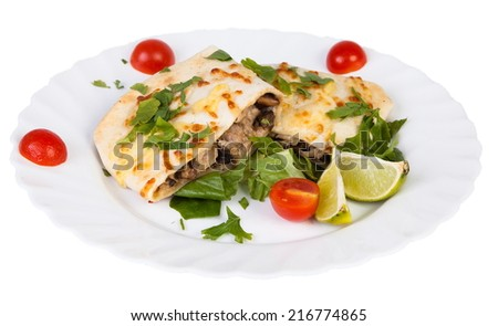 Chimichanga Mexican cuisine isolated on white background - stock photo