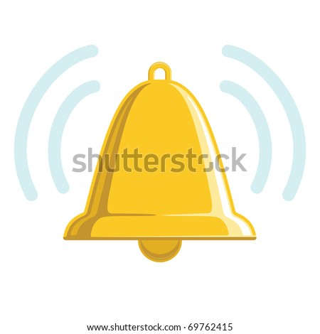 Chiming golden bell illustration or icon