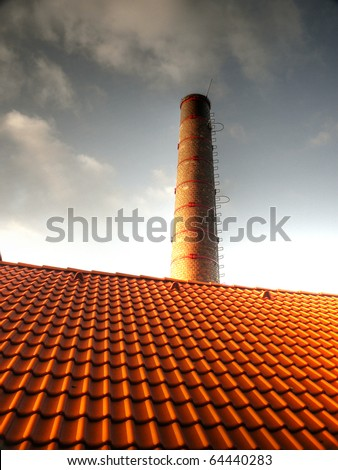 Chimney and roof - stock photo