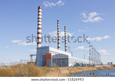 Chimney at the energy station - stock photo