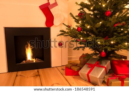 chimney, christmas tree and presents