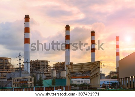 chimney in thermal electric generator industry plant  - stock photo