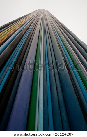 chimney of colored pipes - stock photo