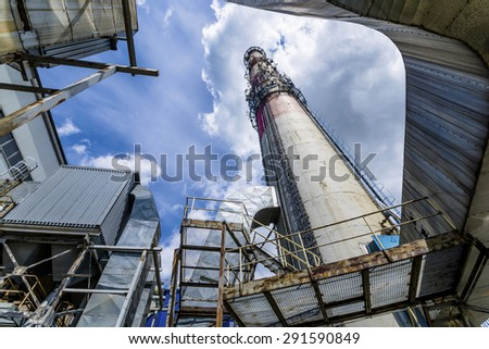 chimney of thermal power plant. - stock photo