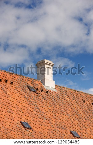 Chimney on a private house - stock photo