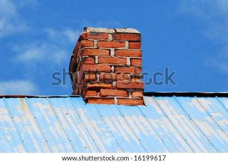 Chimney on blue roof