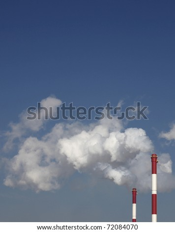 chimneys and smoke - stock photo