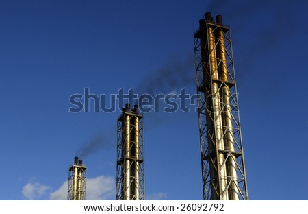 chimneys of a factory