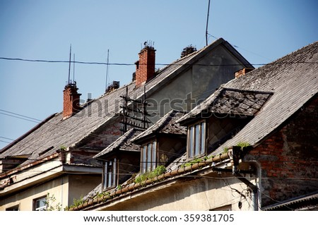 Chimneys on a row of old hungarian houses