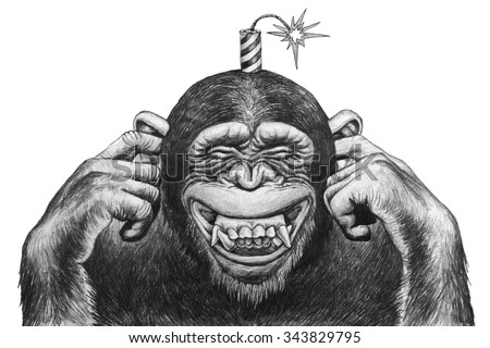 Chimpanzee fingers covering her ears and expects cotton firecrackers. Pencil drawing illustration.