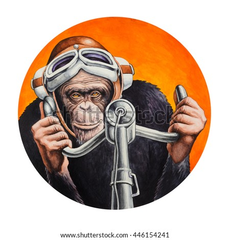 Chimpanzee pilot at the controls of the aircraft. Watercolor illustration.