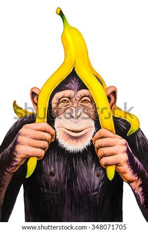 Chimpanzee with a banana peel on his head. Watercolor illustration. - stock photo