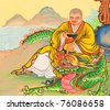 China, a Chinese temple wall paintings priest in Thailand - stock photo