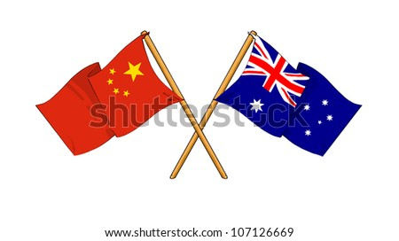 China and Australia alliance and friendship - stock photo
