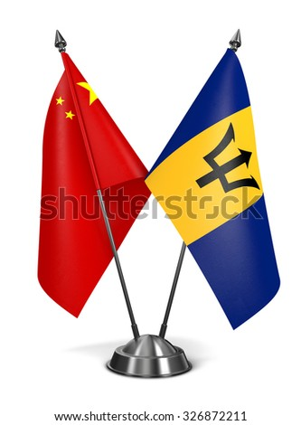 China and Barbados - Miniature Flags Isolated on White Background. - stock photo