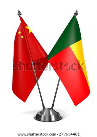 China and Benin - Miniature Flags Isolated on White Background. - stock photo