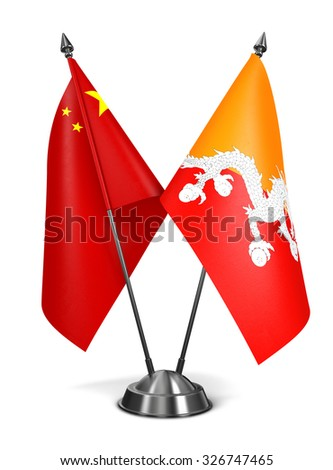 China and Bhutan - Miniature Flags Isolated on White Background. - stock photo