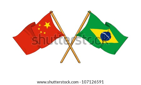 China and Brazil alliance and friendship - stock photo