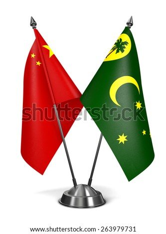 China and Cocos Keeling Islands - Miniature Flags Isolated on White Background. - stock photo
