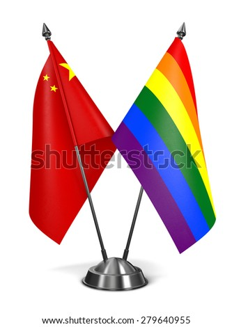 China and Gay - Miniature Flags Isolated on White Background. - stock photo
