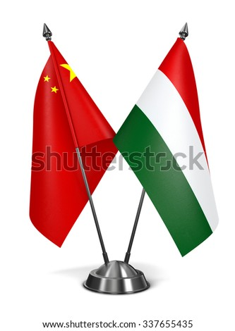 China and Hungary - Miniature Flags Isolated on White Background. - stock photo