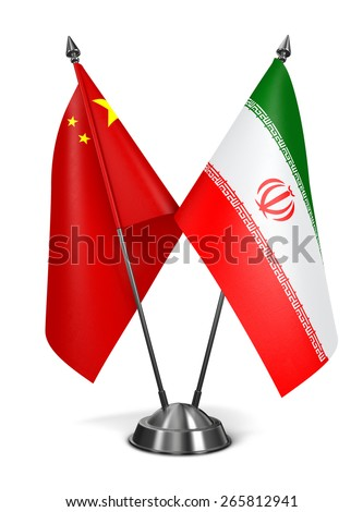 China and Iran - Miniature Flags Isolated on White Background. - stock photo