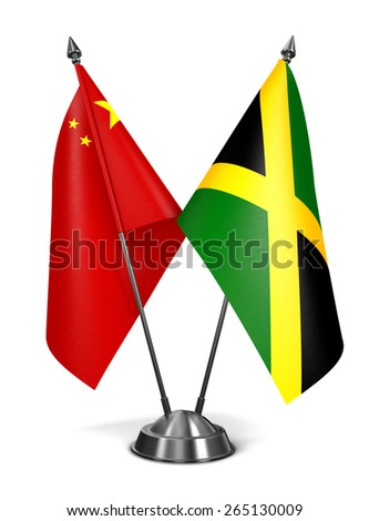 China and Jamaica - Miniature Flags Isolated on White Background. - stock photo