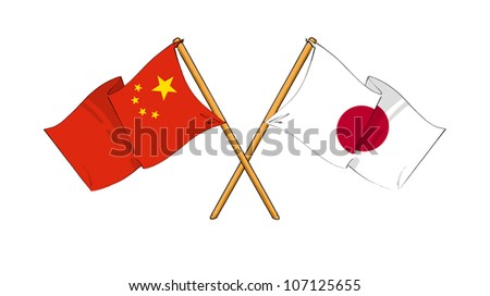 China and Japan alliance and friendship - stock photo