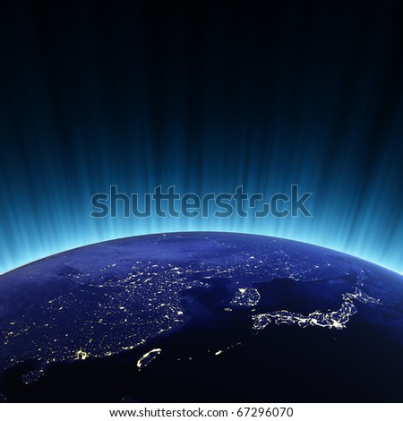 China and Japan. Maps from NASA imagery - stock photo