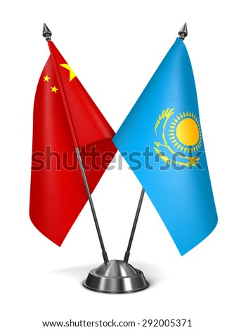 China and Kazakhstan - Miniature Flags Isolated on White Background. - stock photo