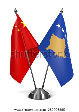 China and Kosovo - Miniature Flags Isolated on White Background. - stock photo