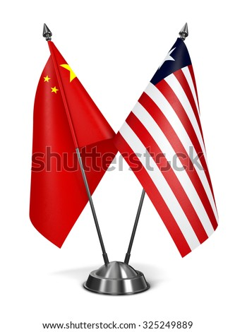 China and Liberia - Miniature Flags Isolated on White Background. - stock photo