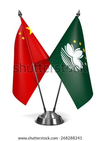 China and Macau - Miniature Flags Isolated on White Background. - stock photo