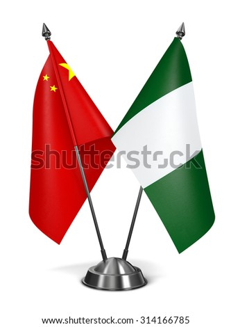 China and Nigeria - Miniature Flags Isolated on White Background. - stock photo