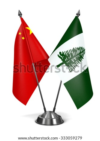 China and Norfolk Island - Miniature Flags Isolated on White Background. - stock photo